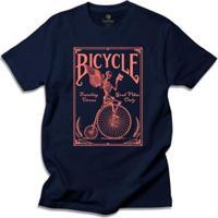 Camiseta Bike Cool Tees Bicicleta Vintage Masculina - Masculino-Azul Navy
