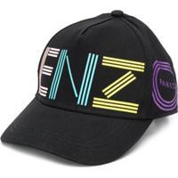 Kenzo Kids Boné Com Estampa De Logo - Preto