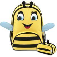Kit 5 Abelha Mumagi Mochila Escolar + Estojo Amarelo