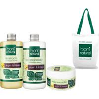 Kit Boni Natural Capilar Argan E Linhaça Shampoo E Condicionador 500Ml + Máscara 50G