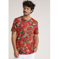 Camiseta Masculina Estampada Floral Manga Curta Gola Careca Cobre