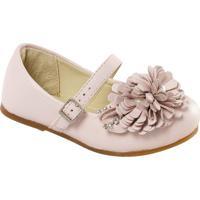 Sapato Boneca Em Couro Com Flor - Rosa Claroprints Kids