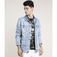 Jaqueta Jeans Masculina Com Bolsos Azul Claro