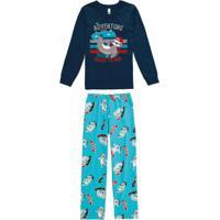 Pijama Azul Marinho Infantil Brilha No Escuro