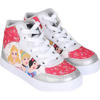 Tênis Infantil Cano Alto Disney Princesas - Feminino-Prata+Branco