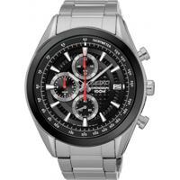 Relógio Seiko Masculino Ssb201B1 P1Sx Cronógrafo Pulseira E Caixa Aço Prateado Mostrador Preto