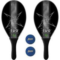 Kit Raquetes Frescobol Evo Fibra Vidro Dark Com 2 Bolas Penn - Masculino
