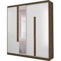 Guarda-Roupa Casal Com Espelho Agile 2 Pt 3 Gv Branco E Cedro