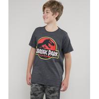 Camiseta Juvenil Jurassic Park Manga Curta Gola Careca Cinza Mescla Escuro