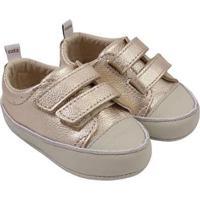Tênis Infantil Couro Catz Calçados Noody Velcro - Unissex-Dourado