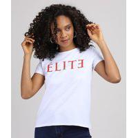 Blusa Feminina Elite Manga Curta Decote Redondo Branca
