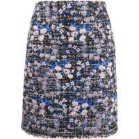 Giambattista Valli Saia De Tweed Com Bordado Floral - Azul