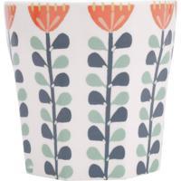 Vaso Em Cerã¢Mica Floral- Branco & Azul Marinho- 13Xã˜Urban
