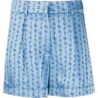 Off-White Short Jacquard De Logo - Azul