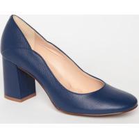Sapato Tradicional Em Couro Com Recorte - Azul Marinho