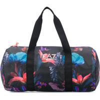 Ea7 Emporio Armani Floral Print Duffle Bag - Preto
