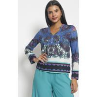 Blusa Arabescos Com Seda- Azul Marinho Branca- Vipvip Reserva