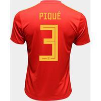 Camisa Seleção Espanha Home 2018 N° 3 Piqué - Torcedor Adidas Masculina - Masculino