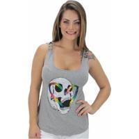 Regata Volcom Skull Rainbow Feminina - Feminino-Cinza