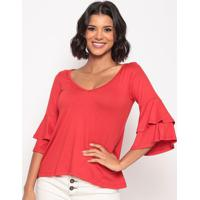 Blusa Lisa Com Babado- Vermelha- Thiptonthipton