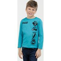 Camiseta Infantil Estampa Super Heróis Liga Da Justiça