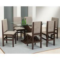 Conjunto De Mesa Com 6 Cadeiras Cristine Tabaco E Bege