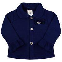 Casaco Bebê Feminino Em Soft Azul Marinho Com Botões (1/2/3) - Fantoni - Tamanho 3 - Azul Marinho
