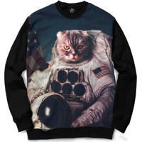 Blusa Bsc Cat Space Full Print - Masculino-Preto