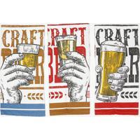 Jogo De Panos De Pratos Fiori Cerveja- Branco & Preto