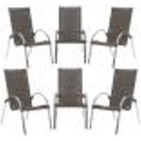 Cadeiras 6Un Para Area Varanda Fibra Sintetica Sala Cozinha Jardim Sacada Garden - Pedra Ferro