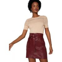 Amaro Feminino Mini Saia Leather, Burgundy