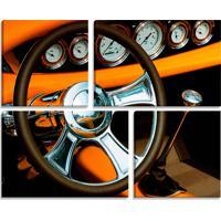 Conjunto De 4 Telas Decorativas Estilo Fotografia Carro Interior Volante - Montada: 82X102Cm (A-L) Unico