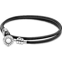Bracelete Pandora De Couro De Duas Voltas Preto