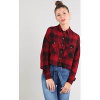 Camisa Feminina Cropped Estampada Xadrez Manga Longa Vermelha