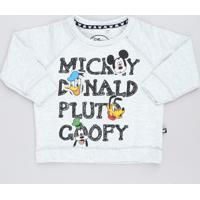 Blusão Infantil Estampado Turma Do Mickey Em Moletom Cinza Mescla Claro