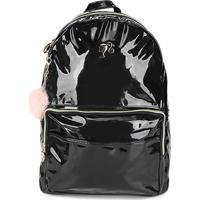 Mochila Escolar Infantil Luxcel Barbie Verniz Com Charm Bag Feminina - Feminino-Preto