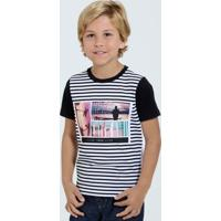 Camiseta Infantil Listrada Manga Curta Marisa