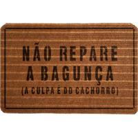"""Capacho Antiderrapante """"Não Repare A Bagunça""""- Marrom Clwevans"""