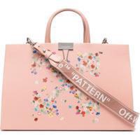 Off-White Floral Arrows-Motif Tote Bag - Rosa