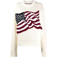 Tommy Hilfiger Suéter De Tricô Com Bandeira Americana - Branco