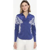 Camisa Com Bordados- Azul & Branca- Cotton Colors Excotton Colors Extra