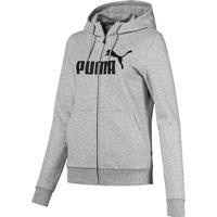 Jaqueta Moletom Puma Essentials Logo Hooded Feminina - Feminino-Cinza Claro