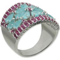 Anel Flor Cravejado Com Zircônias Rosa E Azul E Banho Em Prata