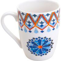 Caneca Marrakesh- Branca & Azul- 330Ml- Rojemacrojemac