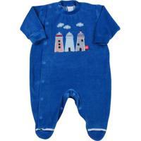 Macacão Bebê Plush 3 Faróis - Masculino-Azul