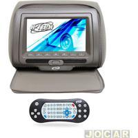 """Encosto De Cabeça Com Monitor - H-Tech - Com Tela De 7"""" Led, Controle, Compatível Com Mp3, Mp4, Mp5 - Cinza - Cada (Unidade) - Ht-Eu50Zp"""