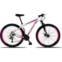 Bicicleta Aro 29 Quadro 21 Alumínio 21 Marchas Freio A Disco Mecânico Branco/Pink - Dropp