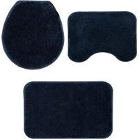 Jogo Para Banheiro Classic- Azul Marinho- 3Pã§S- Oasis