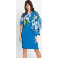 Vestido Tubinho Com Sobreposição Azul Bic
