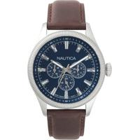 6db28d8ac2e Relógio Nautica Masculino Couro Marrom - Napstb001